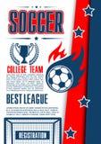 Vectoraffiche voor de ligaspel van de voetbaluniversiteit Stock Foto