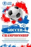 Vectoraffiche voor het kampioenschap van de voetbalvoetbal Royalty-vrije Stock Foto's
