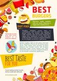 Vectoraffiche voor het restaurant van snel voedselburgers Stock Fotografie