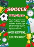 Vectoraffiche voor het spel van de de ligakop van de voetbaluniversiteit Royalty-vrije Stock Foto's