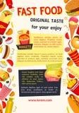 Vectoraffiche voor snel voedselrestaurant Stock Foto's