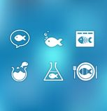 Vectoral icon set with Little fish. Icon set with Little fish in different situations Royalty Free Stock Photos