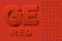 Vectoralfabet van eenvoudige 3d brieven Royalty-vrije Stock Fotografie