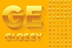 Vectoralfabet van eenvoudige 3d glanzende brieven Stock Afbeelding