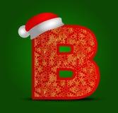 Vectoralfabetbrief B met Kerstmishoed en gouden sneeuwvlokken Royalty-vrije Stock Afbeeldingen