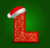 Vectoralfabetbrief L met Kerstmishoed en gouden sneeuwvlokken Royalty-vrije Stock Afbeeldingen