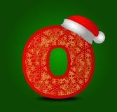 Vectoralfabetbrief O met Kerstmishoed en gouden sneeuwvlokken Stock Foto