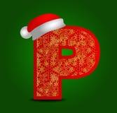 Vectoralfabetbrief P met Kerstmishoed en gouden sneeuwvlokken Royalty-vrije Stock Afbeelding