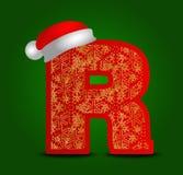 Vectoralfabetbrief R met Kerstmishoed en gouden sneeuwvlokken Stock Afbeelding