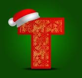 Vectoralfabetbrief T met Kerstmishoed en gouden sneeuwvlokken Stock Foto's