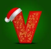 Vectoralfabetbrief V met Kerstmishoed en gouden sneeuwvlokken Stock Afbeelding