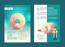 Vectoralgemeen medisch onderzoekbrochure, gezondheidszorgconcept Stock Fotografie