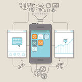 Vectorapp bevordering en marketing illustratie vector illustratie