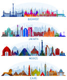 Vectorarchitectuur Mexico, Boedapest, Djakarta en Kaïro stock illustratie