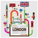 Vectorarm en handonthaal aan Londen gedetailleerde vastgestelde reis Stock Foto's