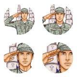 Vectoravatar van het de militairpop-art van de begraafplaatsbegroeting pictogram royalty-vrije illustratie