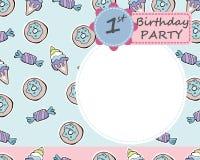 Vectorbaby 1 Th-de groetkaart van de Verjaardagspartij Suikergoed, donuts, Royalty-vrije Stock Afbeeldingen