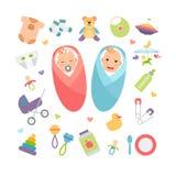 Vectorbabys en babyproducten Royalty-vrije Stock Foto's