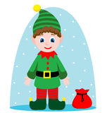 Vectorbackground with Christmas elf Royalty Free Stock Image