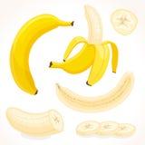Vectorbanaan Gesneden, gehele, halve banaan Stock Foto's