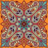 Vectorbandanadruk met het ornament van Paisley Katoen of zijde headscarf, ontwerp van het hoofddoek het vierkante patroon, ooster Stock Afbeelding