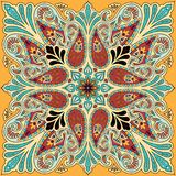 Vectorbandanadruk met het ornament van Paisley Katoen of zijde headscarf, ontwerp van het hoofddoek het vierkante patroon, ooster Stock Foto's