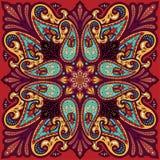 Vectorbandanadruk met het ornament van Paisley Katoen of zijde headscarf, ontwerp van het hoofddoek het vierkante patroon, ooster Royalty-vrije Stock Afbeelding
