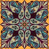 Vectorbandanadruk met het ornament van Paisley Katoen of zijde headscarf, ontwerp van het hoofddoek het vierkante patroon, ooster Stock Fotografie