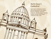 Vectorbanner met illustratie van de Kathedraal van Heilige Isaac in Heilige Petersburg, Rusland stock illustratie
