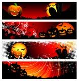 Vectorbanner vier op een thema van Halloween Stock Afbeeldingen