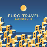 Vectorbannermalplaatje met Europees landschap Stock Foto's