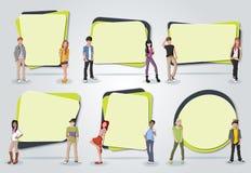 Vectorbanners/achtergronden met beeldverhaaljongeren vector illustratie