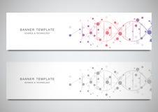 Vectorbanners en kopballen voor plaats met DNA-bundel en moleculaire structuur Genetische biologie of laboratoriumonderzoek vector illustratie