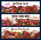 Vectorbanners met vers vlees stock illustratie