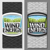 Vectorbanners voor Windenergie Stock Illustratie