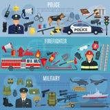 Vectorbannersbrandbestrijder, militair en politie royalty-vrije illustratie