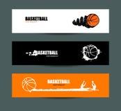 Vectorbasketbal, reeks banners, Schetsen Stock Foto's