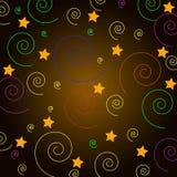 Vectorbeeld, de kleurrijke spiraal als achtergrond en de ster Royalty-vrije Stock Afbeeldingen