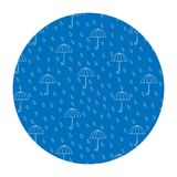 Vectorbeeld in een cirkel Regen en paraplu's vector illustratie