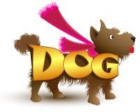 Vectorbeeld, een ruwharige, pluizige kleine bruine hond gekleed met een sjaal Stock Afbeeldingen