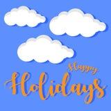 Vectorbeeld gelukkige vakantie met wolk Stock Afbeeldingen