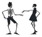 Vectorbeeld met silhouet twee van skelet Royalty-vrije Stock Afbeeldingen