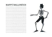 Vectorbeeld met silhouet van skelet Stock Fotografie