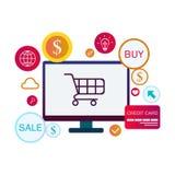 Vectorbeeld van de e-commerce het infographic banner Bedrijfs conceptenillustratie royalty-vrije illustratie