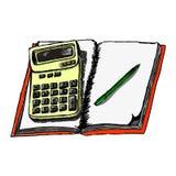 Vectorbeeld van een calculator op tetrad in de stijl van met de hand het trekken Stock Foto