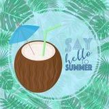 Vectorbeeld van een cocktail in de vorm van een kokosnoot met een paraplu en een stro op een achtergrond van tropische bladeren m vector illustratie