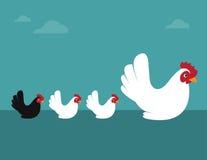 Vectorbeeld van een kip en kuikens Royalty-vrije Stock Foto's