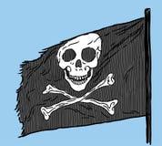 Vectorbeeld van een piraatvlag in een blauwe hemel vector illustratie