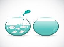 Vectorbeeld van een vis die uit aquarium springen Stock Foto's