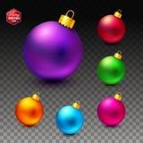 Vectorbeeld van Heldere en lichtgevende realistische Kerstmisballen stock illustratie